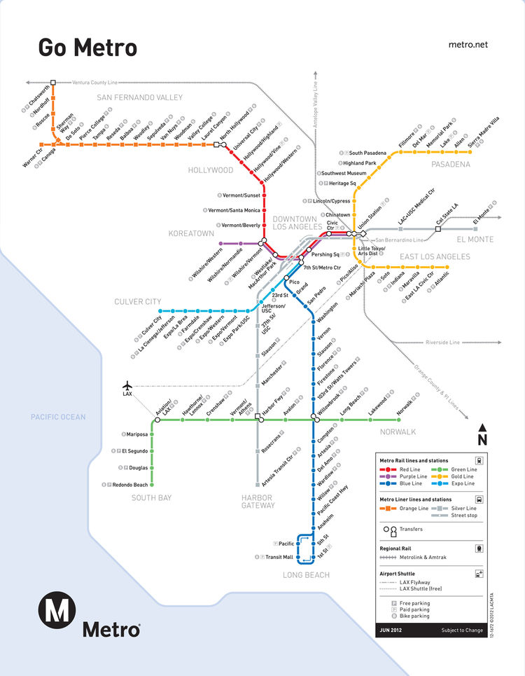 <h3>Los Angeles</h3> Think colorful—like Los Angeles—and clear, especially since the majority of riders don't have English as their first language. Michael Lejeune, creative director of Metro L.A., says the Go Metro map reflects the brand and the city by