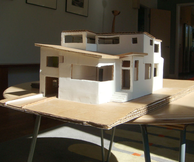 """In the planning stages, Ian took a model of his home to the Pacific Energy Center's <a href=""""http://www.pge.com/pec/heliodon/"""">Heliodon</a>, a system that simulates the motion of the earth relative to the sun to see how the light shining into the home wou"""