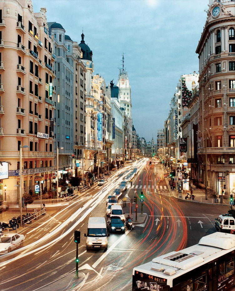 "The bustle of Gran Viá, one of Madrid's central arteries in what could just as easily be 4 AM as 4 PM, lives up to its name as ""The Grand Road."" Architectural tourists won't want to miss Gran Viá's stately Edificio Metrópolis, Edificio Grassy, or the Edif"