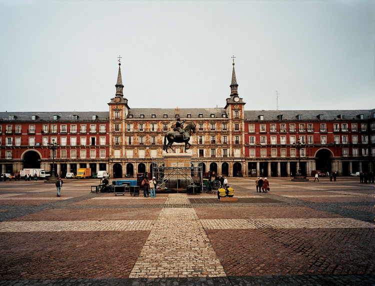 An equestrian statue of King Phillip III presides over Madrid's central square, Plaza Mayor.