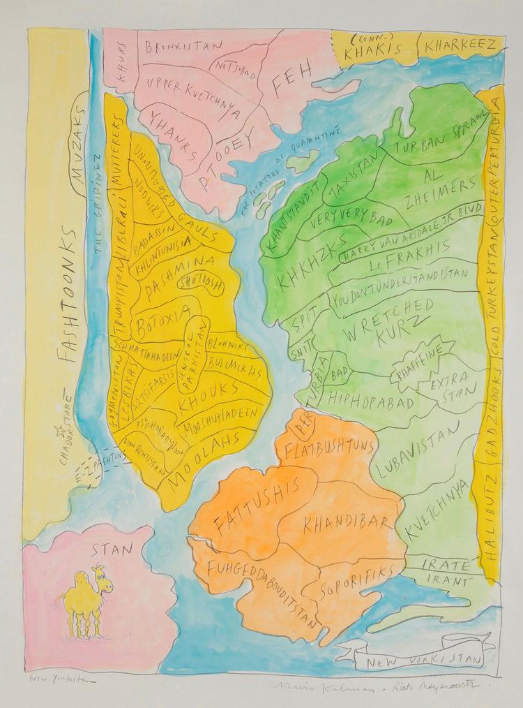 New Yorkistan, 2001, by Maira Kalman and Rick Meyerowitz. Gouache and pencil on paper.