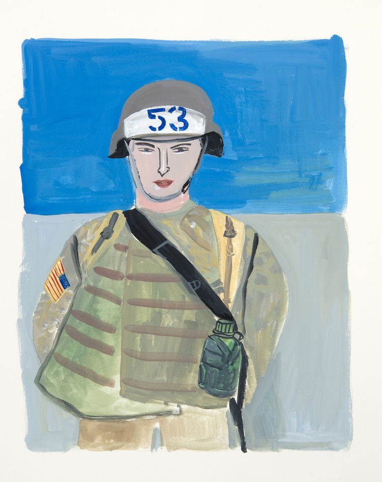 Here's a soldier Kalman painting, one of the many portraits in the show.