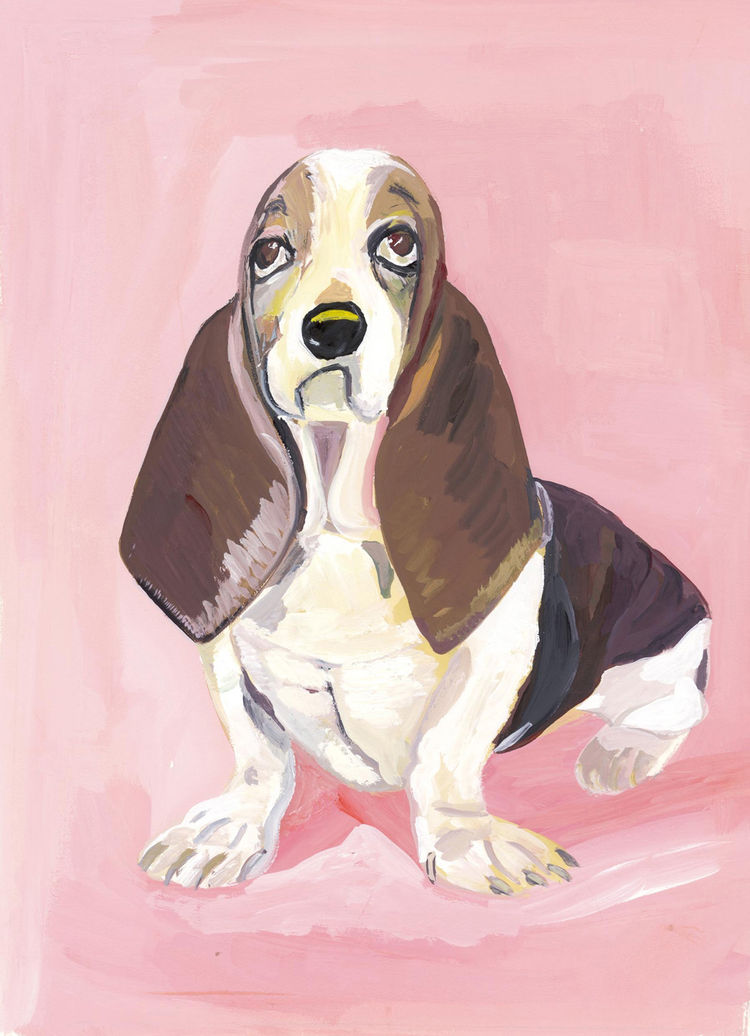 """One of my favorite modes in Kalman's work is the bullseye composition with a wash of color as the background. This work, entitled """"Susan,"""" shows a droopy basset hound and appeared in the illustrated version Kalman did of Strunk and White's The Elements of"""