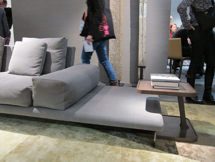 The couch base is basically a padded platform; the Desserte side table is a pleasing accompaniment.