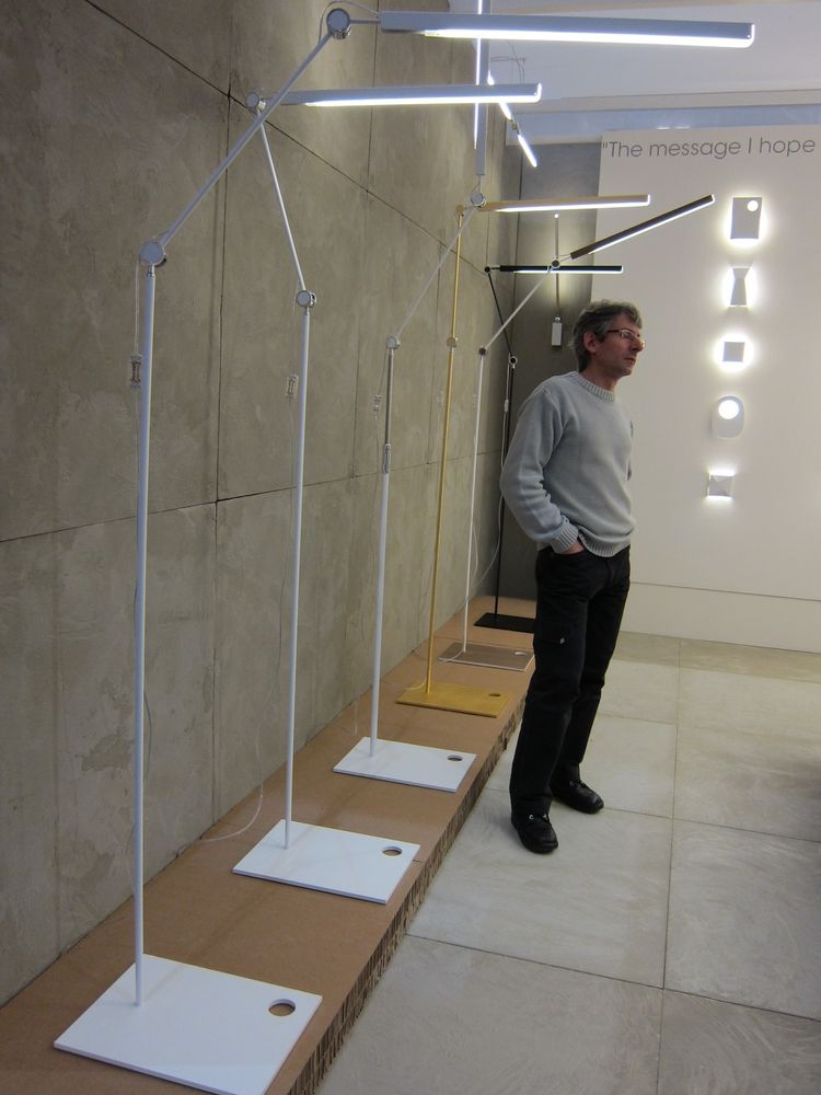 &Costa offered a fleet of LED floor lights and sculptural wall sconces.