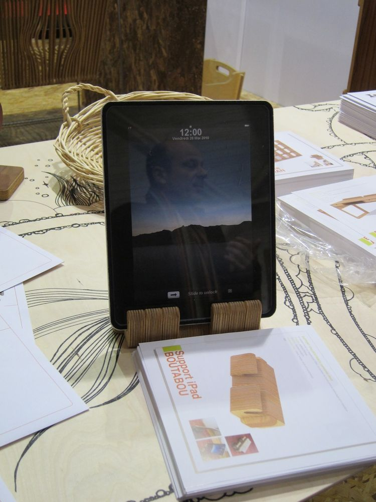 Here's an iPad holder, also made of plywood. All L'Edito's products are made to order, built in a factory in southern Paris.