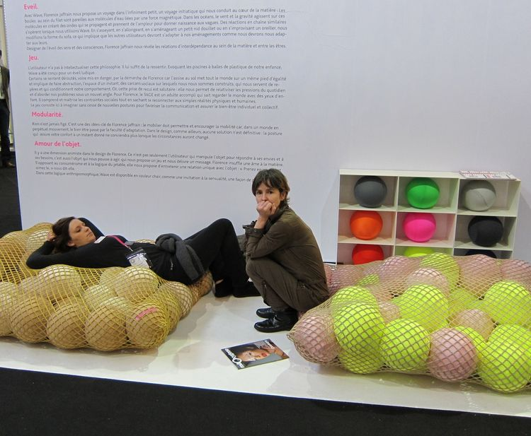 Particularly eye-catching were these squishy ball-filled nets, a new take on a beanbag chair from Florence Jaffrain.