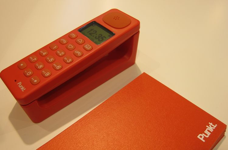 Premiering at the fair was this right-side-up telephone by Jasper Morrison, in collaboration with the new Swiss brand Punkt. It comes in this poppy red color as well as white and black.