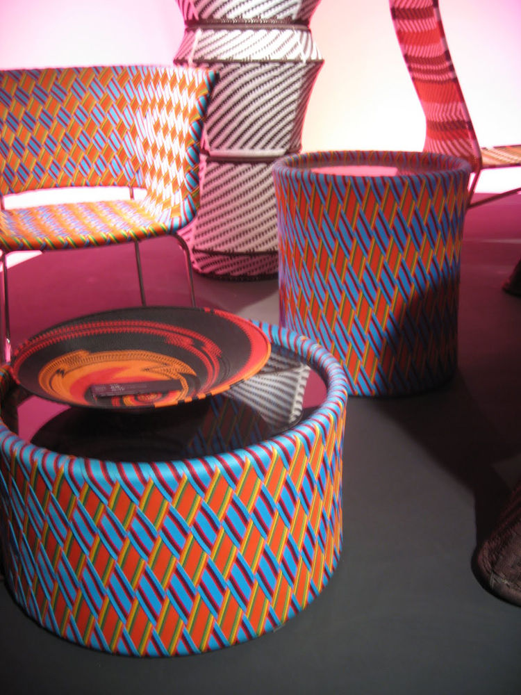 "Kente Table and Chairs by <a href=""http://www.dwell.com/people/philippe-bestenheider.html?tab=about&c=y"">Philippe Bestenheider</a> for <a href=""http://www.varaschin.it/"">Varaschin</a>. Though these items were introduced last year, I was really taken by ho"