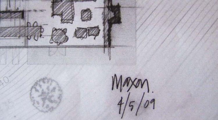A closeup detail of Tom Kundig's original conceptual sketch of the Maxon House residence.