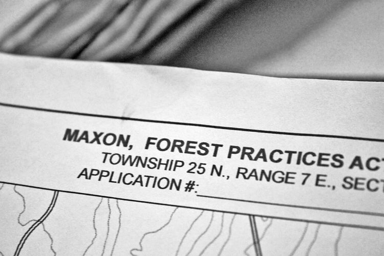 As part of the forest practices activity we were required to fill out applications and permits to designate the areas we'd be thinning and clearing as part of our forest plan. Detailed maps outlining specific zones were then shared with the contractors an