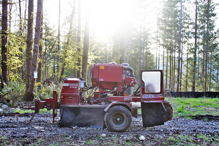 Contractors' cutting equipment sits in preparation for work. In the background, the permit is posted to the tree. On this particular day the weather is cooperating and a layer of rock has been spread down the forest access road to minimize the impact from