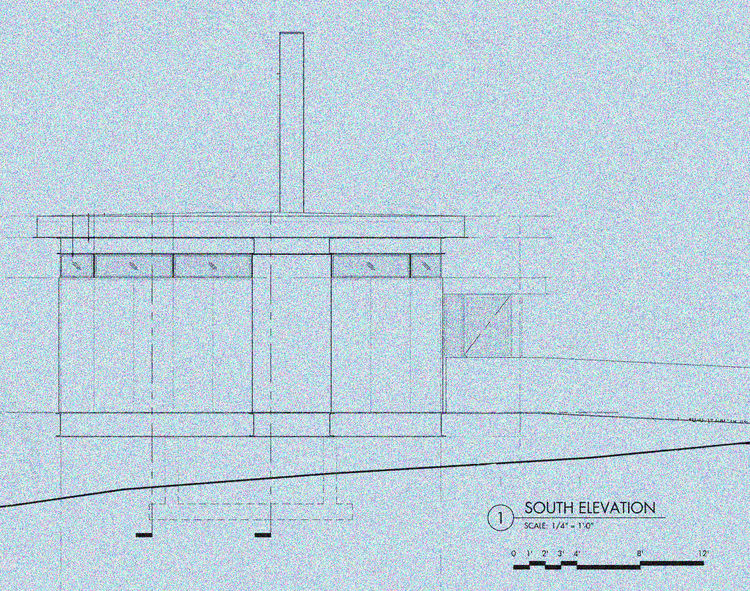 An exterior elevation of the proposed residence during the schematic phase of the project.