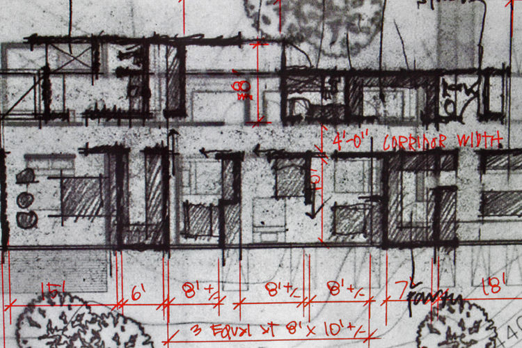 After our initial concept meeting we exchanged notes and asked for specific dimensions on rooms so we could make some decisionsmoving forward. Edward would e-mail over notations drawn over plans so we could review and then make final comments and decisio