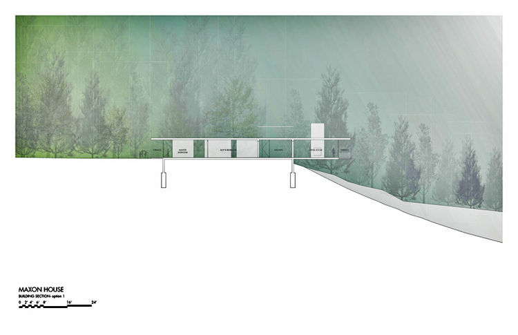 Here are elevation plans detailing the cantilever of the proposed residence. Following the conceptual meeting and subsequent revisions I submitted initialsite plans and drawings to the county for initial review in terms of slope setbacks and buffers to i