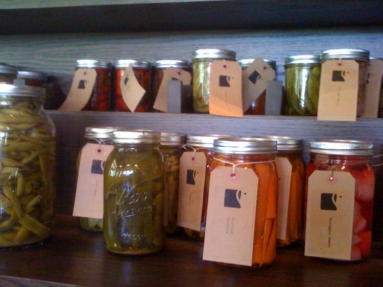 In addition to wine, they also sell jars of canned and pickled vegetables, grown on site.