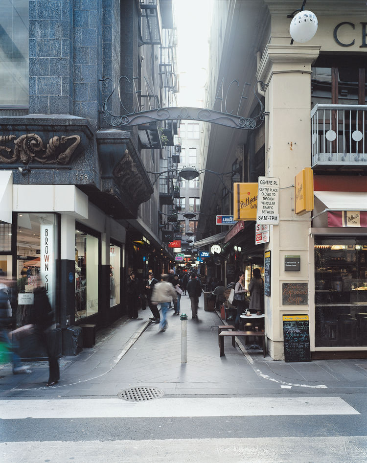 Centre Place, one of the many labyrinthine laneways that criss-cross the inner city, is well-traversed by pedestrians.