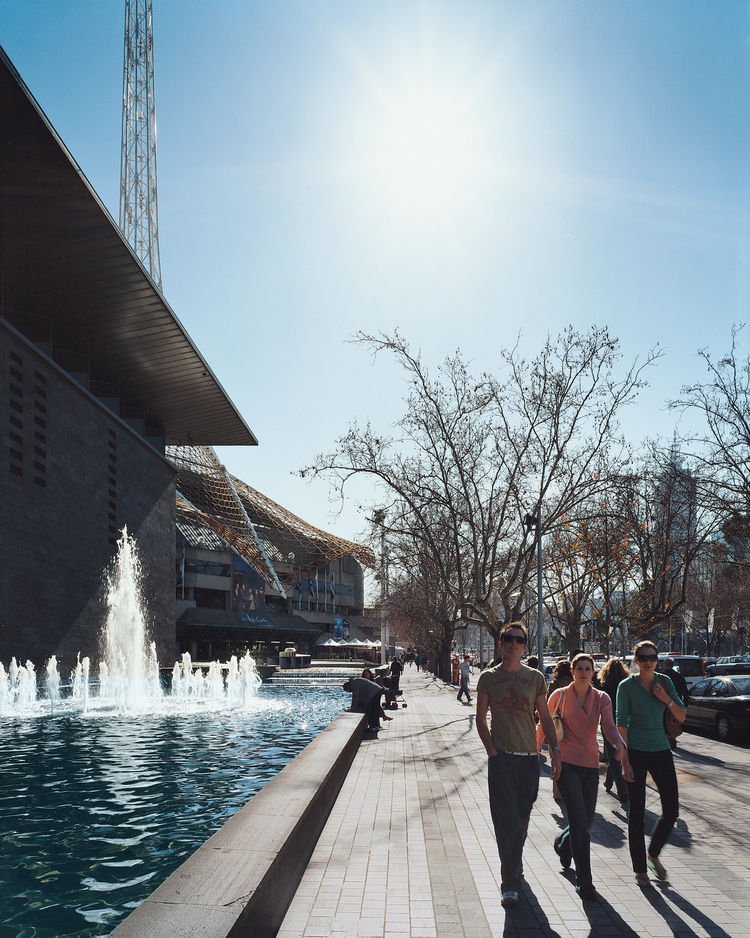 The St. Kilda Road art precinct is dominated by the brutalist National Gallery of Victoria and the landmark spire of the Arts Centre.