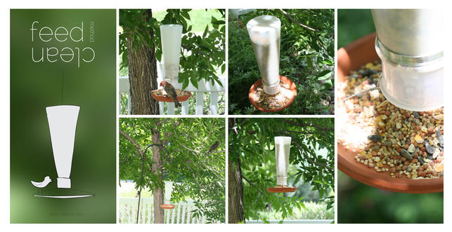 <h3>Feed Clean</h3> Yet another bottle-turned-feeder sent our wings flapping. Consulting his 9-year-old daughter, Nathan employed a Method concentrated detergent bottle and a terracotta dish to construct an easy-to-use bird feeder.