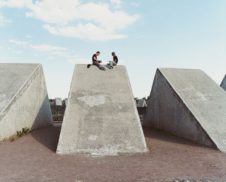 Espacio Escultorico, the sculpture garden at UNAM, is a popular gathering place  for students and locals alike. The concrete wedges of this sculpture form a circle around a volcanic rock formation where visitors come to meditate.