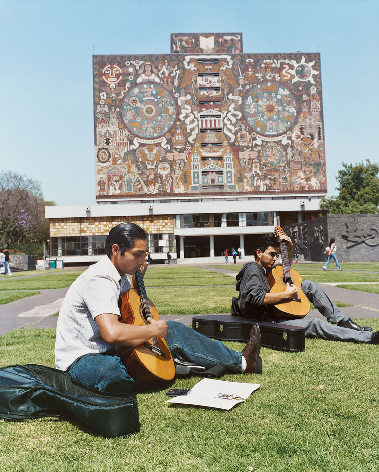 Juan O'Gorman's 1953 library at UNAM (National Autonomous University of Mexico) grafts pre-Hispanic-themed mosaic art onto a modernist structure.