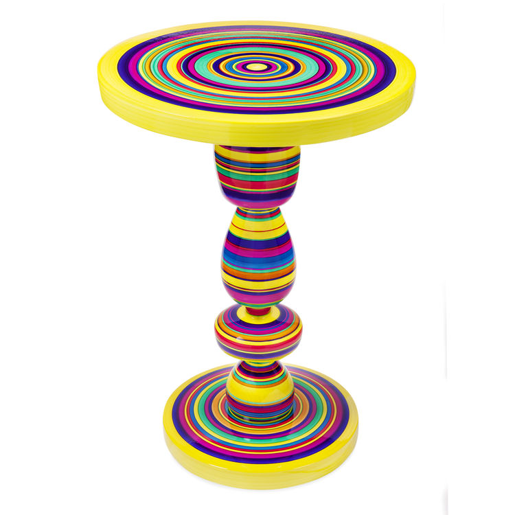 The colorful Pirueta Table ($750) is made of hand-painted and enameled Mexican white pine and inspired by children's toys. The designers are Paulina Gonzalez-Ortega and Andres Ocejo.