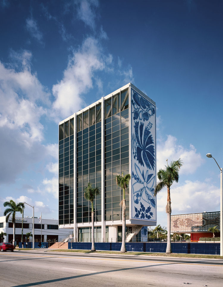 The Bacardi Building is one of Leff's favorite buildings in Miami. Designed by Enrique Gutierrez of the Puerto Rican firm Sacmag International, with ceramic murals by the Brazilian artist Francisco Brennand, the Bacardi Building, built in 1963, houses off