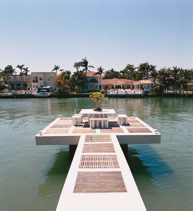 A pier at the private Hochberg residence typifies Miami's complete embrace of the outdoors during the warm spring months.