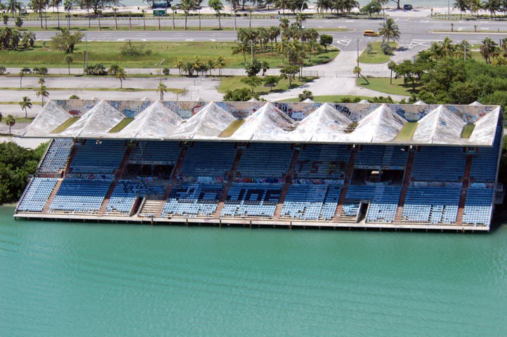 An aerial view of Miami Marine Stadium reveals its current ravaged state. Photo by Rick Bravo.