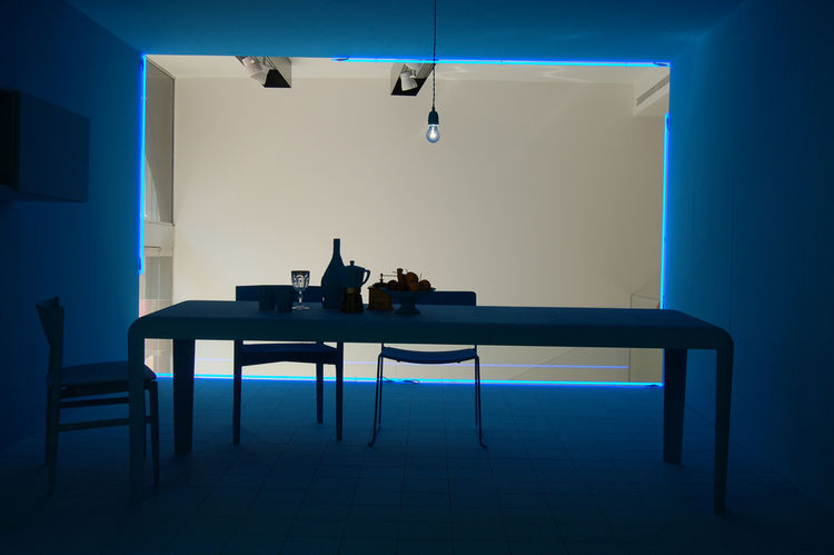 "Lissoni's blue room, installed at <a href=http://www.porro.com/ita/main1.php"">Porro</a> on Via Durini, seemed appropriately melancholy."