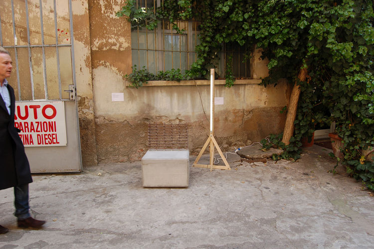 "Just outside the entrance to <a href=http://www.localandco.ae"">Local</a>, another piece by Sarieddine, the concrete-and-metal Dubai Syndrome chair, is displayed next to the Cheap & Best lamp by Dubai-based designer Rami Farook."