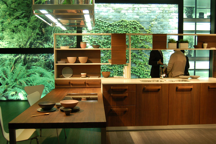 "The E-Wood kitchen, conceived by architect Iosa Ghini for <a href=""http://www.snaidero.com/"">Snaidero</a>, is clad in thermally treated oak."
