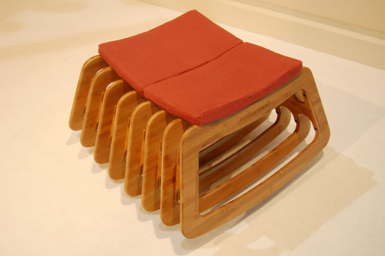 """I saw a couple people gleefully testing the swaying motion of the Rockaround, a bamboo stool by New Zealand designer <a href=http://www.timwigmore.com/"""">Tim Wigmore</a>. It features a hemp-covered seating pad and is finished with citrus oil."""