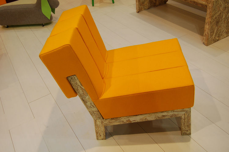 """Meet Rolf, an OSB (oriented strand board) chair by Malmö–based industrial designer Maria Gustavsson of <a href=http://swedishninja.com/products.html"""">Swedish Ninja</a>. The piece, along with an armchair and a bench, comprise her candy-colored collection,"""