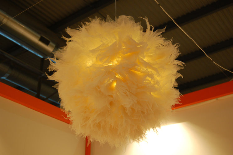 """Chinese designer Junjie Zhang crafted this delightful chandelier of feathers, called Bloom, for <a href=http://www.innovo-design.com"""">Innovo</a>. To describe the piece, Zhang selected this quote by Chinese philosopher Laozi: """"What is grand in the world ha"""