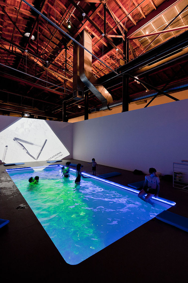 """""""The idea of experiencing art with all our senses is really embodied in this particular installation,"""" Ruiz comments in reference to Cosmococa - ProgramainProgress, CC4 Nocagions, which features a heated swimming pool, dramatic lighting, projections of"""