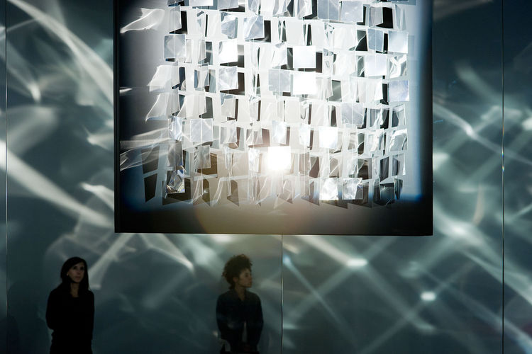 Rather than water or color, Julio Le Parc engulfs the viewer in a space of light and movement. His 1962 creation, Lumiere en mouvement-installation is a room consisting of curved walls lined with mirrors. Strategically placed spotlights illuminate small m