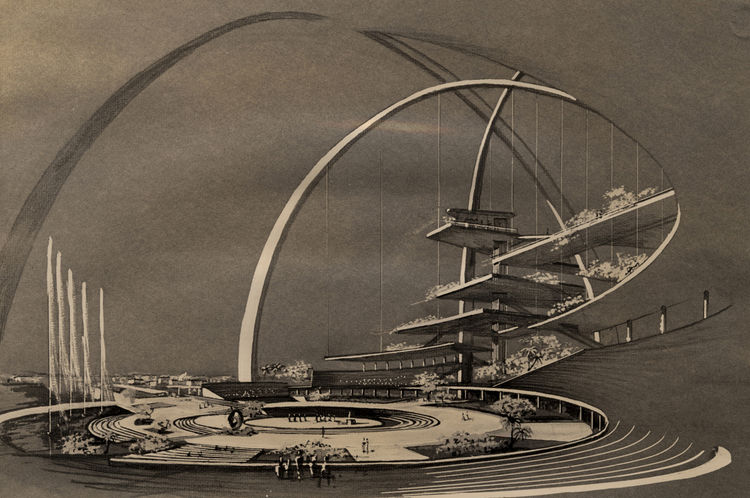 This rendering of the Center for the Americas (Interama) by Spillis, Candella, DMJM shows a building and world's fair that was meant to unite the Americas.