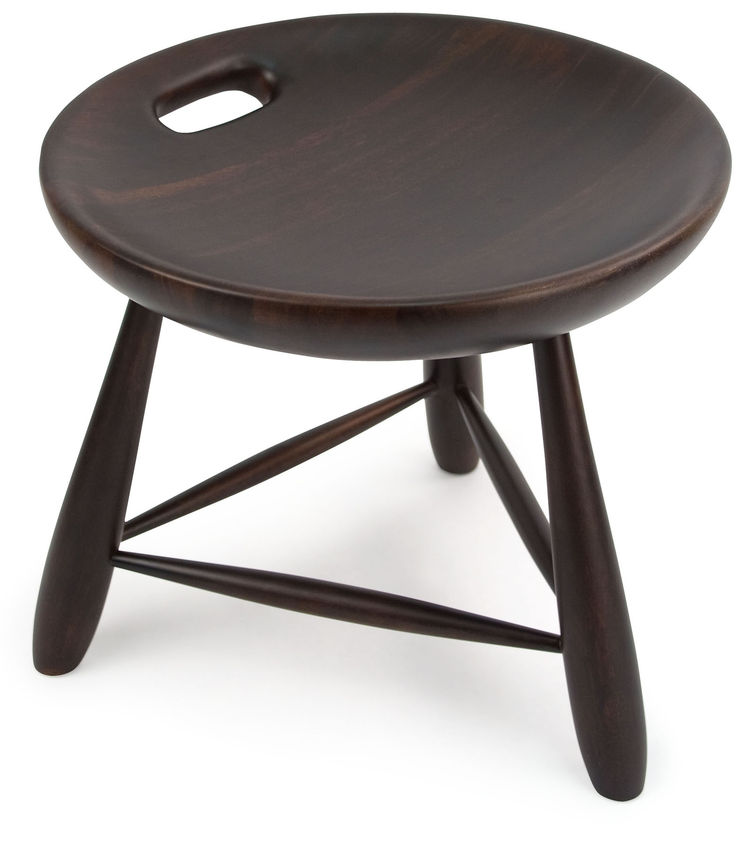 This was one of my favorite pieces in the collection—eye-catching for its simplicity and the pleasing shape of the seat. The stool, made from Brazilian Eucalyptus, is inspired by the traditional milkmaid's stool used throughout Brazil, with three legs and