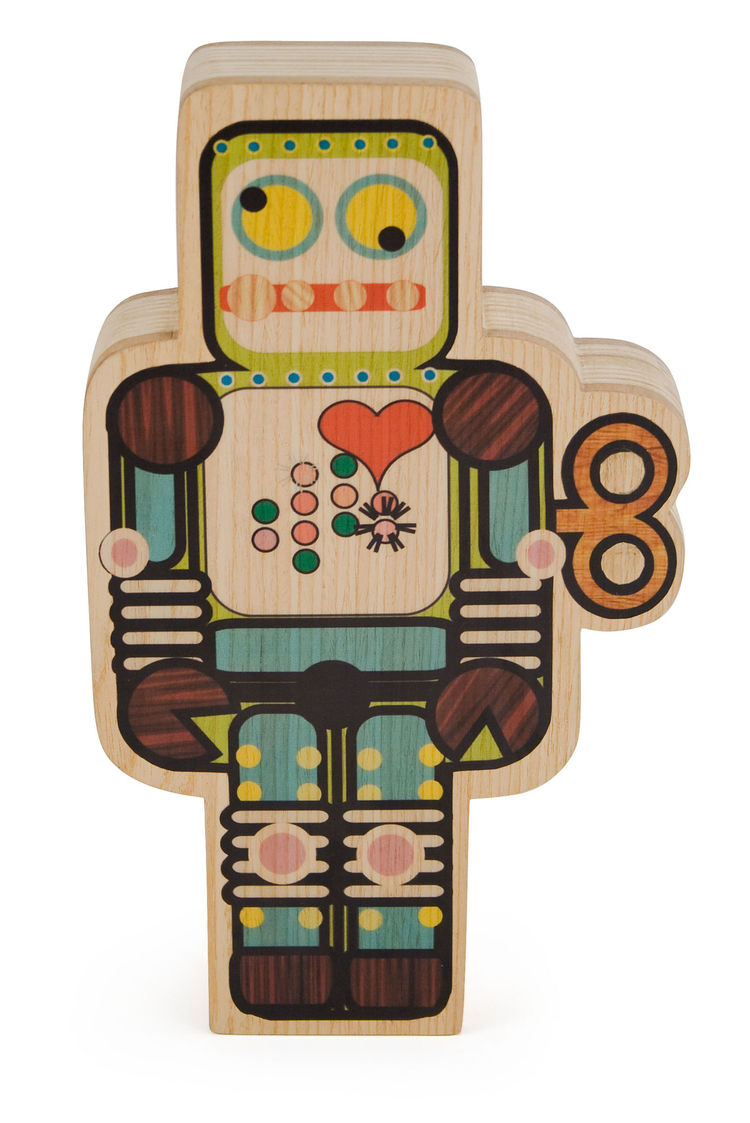 "Since robots are definitely not just for kids, this charismatic tabletop robot could appeal to just about anyone. The colorful illustration is painted onto a block of reclaimed wood from Brazil. A MoMA Exclusive. 8 1/8"" h x 3 3/4""w x 1 3/4""d $65"