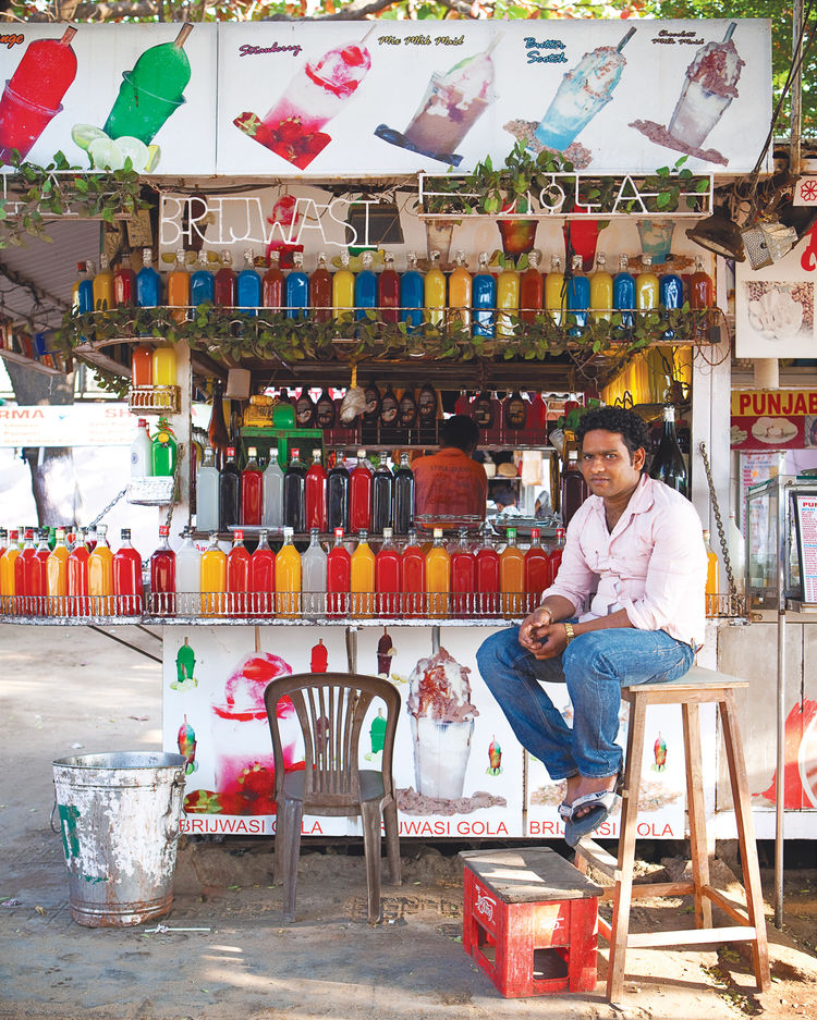 A street vendor offers colorful lower-budget fare.