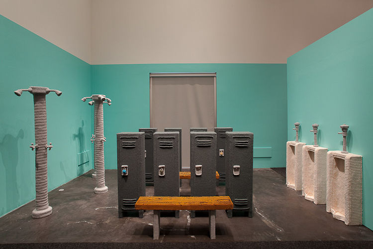 Made entirely of yarn, Vincent's Locker Room is a life-size recreation of the high school gym experience.