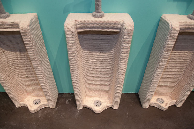 As does the the urinal, a design and shape one would never expect to see made from yarn.