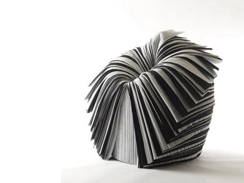 Nendo designed the Cabbage Chair for the XXIst Century Man exhibition curated by Issey Miyake in 2008. The piece is made of pleated paper created as a by-product during fabric production. The material would ordinarily be discarded.