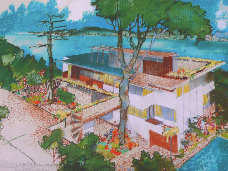 "An original Neutra rendering for his VDL II research center in Silver Lake, named for the Dutch philanthropist Dr. CH Van Der Leeuw, who financed the construction. Neutra identified it in his own hand as the ""Silver Lake Research House, in the metropolita"