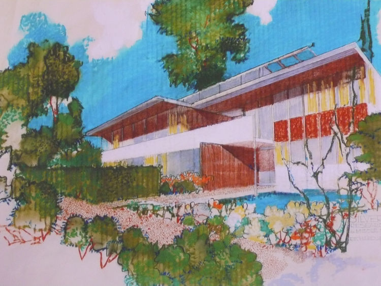 Another rendering from the west side of the VDL II research center, which Richard's wife and Dion's mother, Dione, left to the Cal Poly Pomona College of Environmental Design. Both father and son collaborated on the '66 rebuilding, which was part of the t