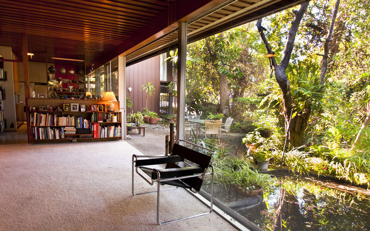 "The living room of Dion Neutra's house on Neutra Place in Silver Lake, which exemplifies the Neutras' early ""nature-near"" philosophy.<br /><br />Photo by Thomas Kamei, courtesy Dion Neutra."