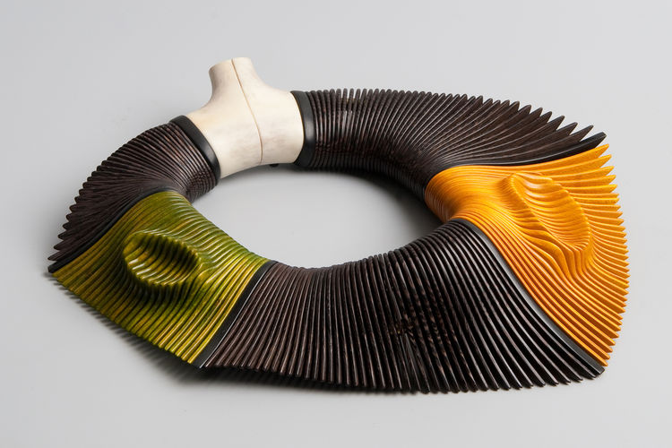 'Butterfly Disguise II' necklace, by Liv Blåvarp of Norway, 2009. Made of wenge, stained maple, ebony, and reindeer horn. Photo by Audbjørn Rønning.
