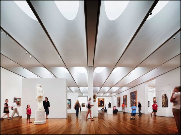 View of Northern European Art (at left) and Altarpiece Galleries (at right), West Building, North Carolina Museum of Art.