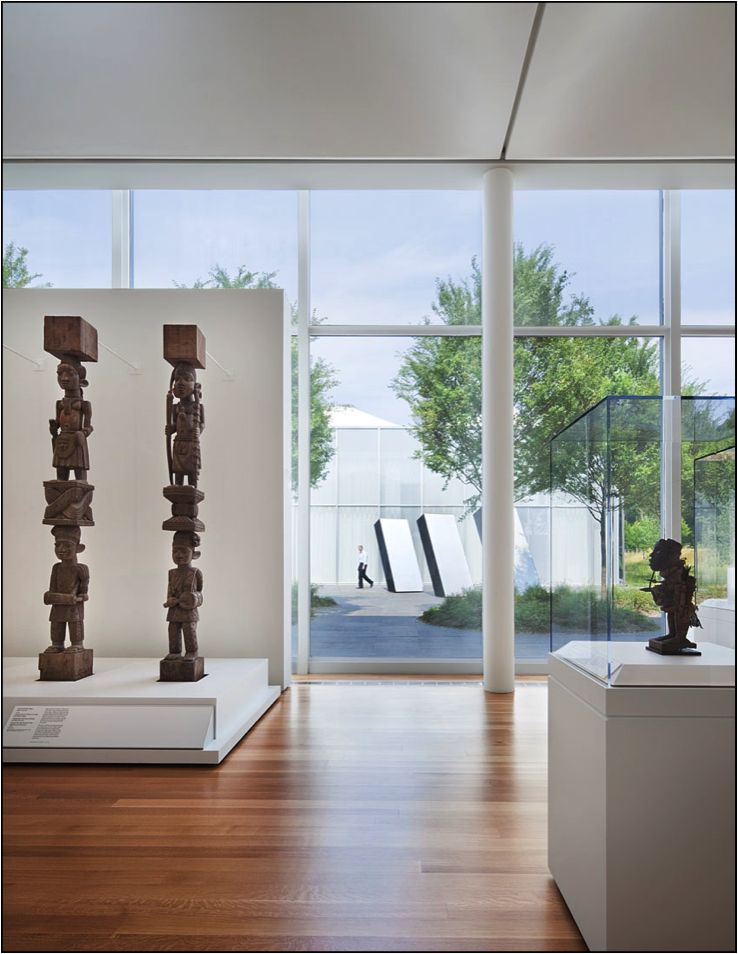 View of African Gallery and North Garden, West Building, North Carolina Museum of Art.